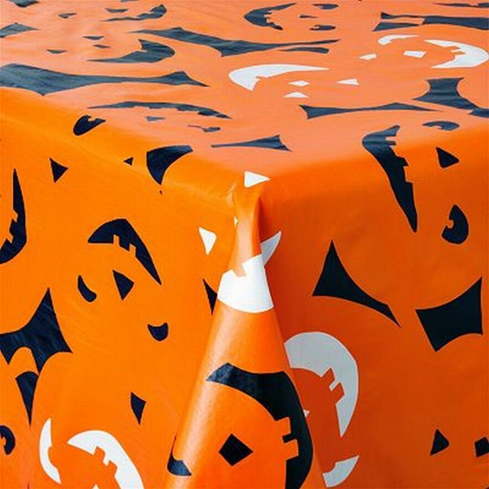 Halloween Pumpkin Party Vinyl Tablecloth (52 X 70 - Oblong)