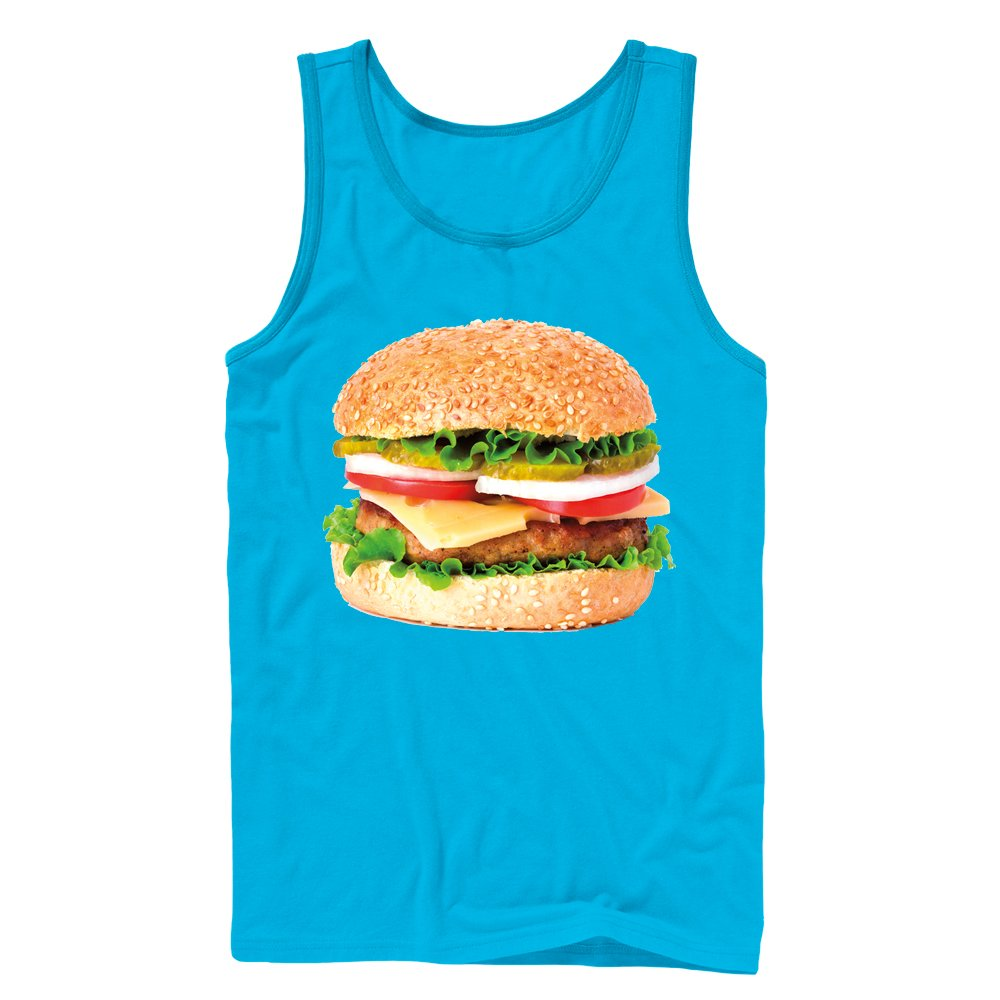 Lost Gods Cheeseburger Love Mens Blue Graphic Tank Top