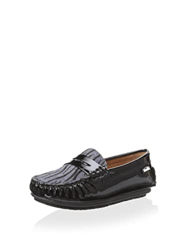 Venettini Savor Zebra Print Loafer, Black, 25 M EU/8.5 M US Toddler