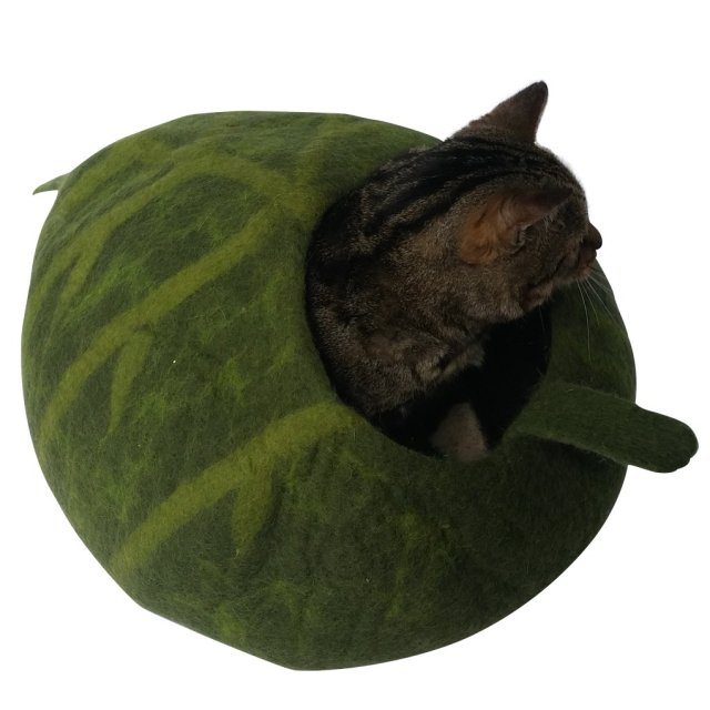 Cat Bed / Cat Cave - Hand Crafted. 100% Seamless Natural Wool, Chemical Free, Machine-washable. Beautiful Cat House for Cats with Allergies or Sensitivities. Seamless, Modern Attractive Design