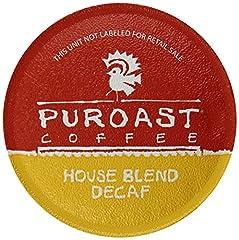 Puroast Low Acid Coffee Single Serve Keurig Compatible, Decaffeinated House Blend, 12 Count