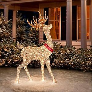 Amazon.com - Glittering Champagne Buck Reindeer Holiday ... on Backyard Decorations Amazon id=43356