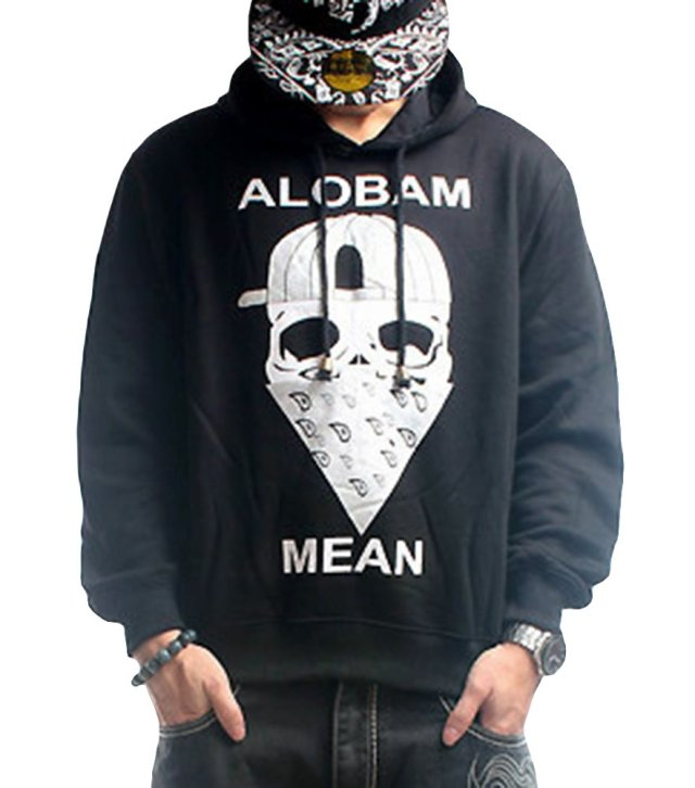 Men's Cotton Skull Printed Sports Sweatershirt Pullover Hoodie