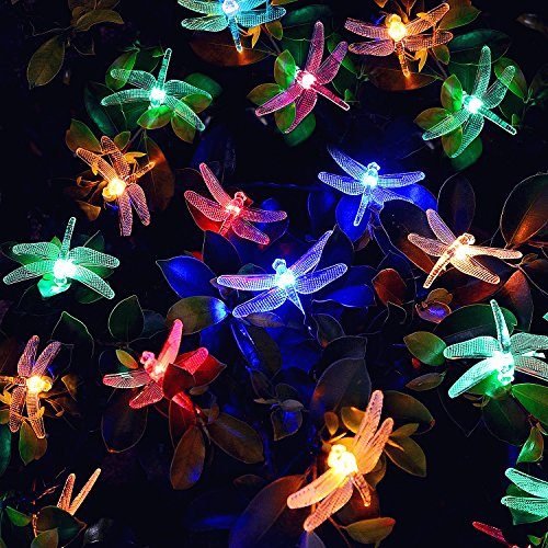 [20 LED 8 Modi] Solar Lichterkette, 20er Led 4,8 Meter Solar Lichterkette Libelle Außen, Solar Beleuchtung für Party, Weihnachten, Outdoor, Hof, Zaun, Fest Deko (Multicolor) [Energieklasse A+++]