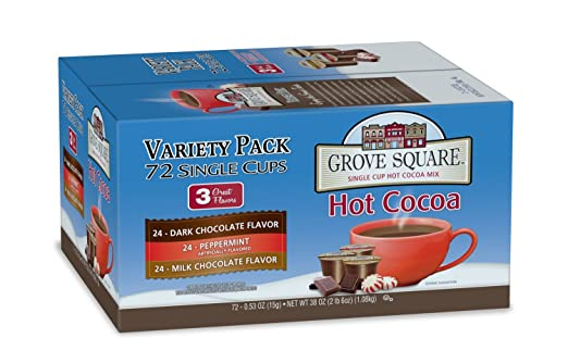 Grove Square Hot Cocoa Variety Pack, 72-Count Single Serve Cup for Keurig K-Cup Brewers