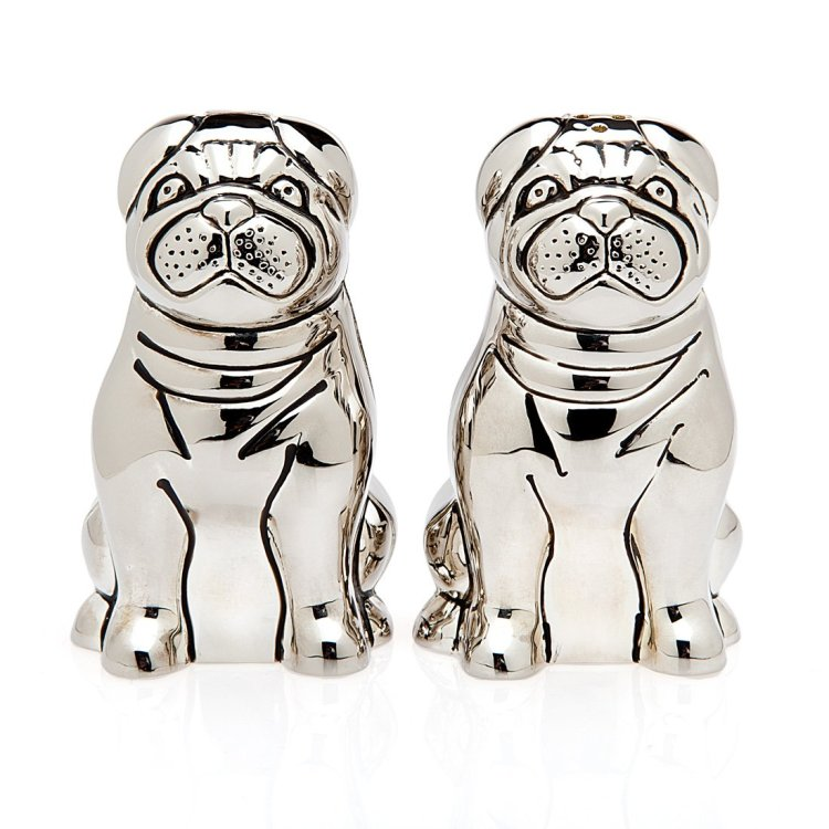 Silver Pug Salt and Pepper Shakers
