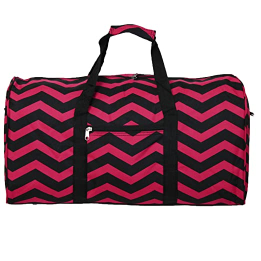 World Traveler 22 Inch Duffle Bag, Fuchsia Black Chevron, One Size