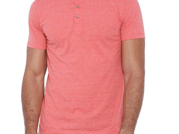 Campus Sutra Men Peach Henley T-shirt