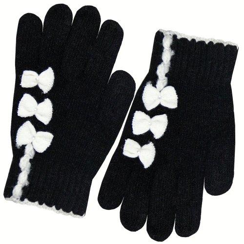 Women's Triple Rhinestone Bows Knitted Angora Wool Acrylic Gloves - Black