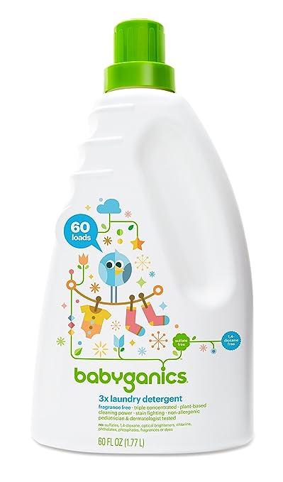 Babyganics 3X Baby Laundry Detergent, Fragrance Free, 60 Fluid Ounce
