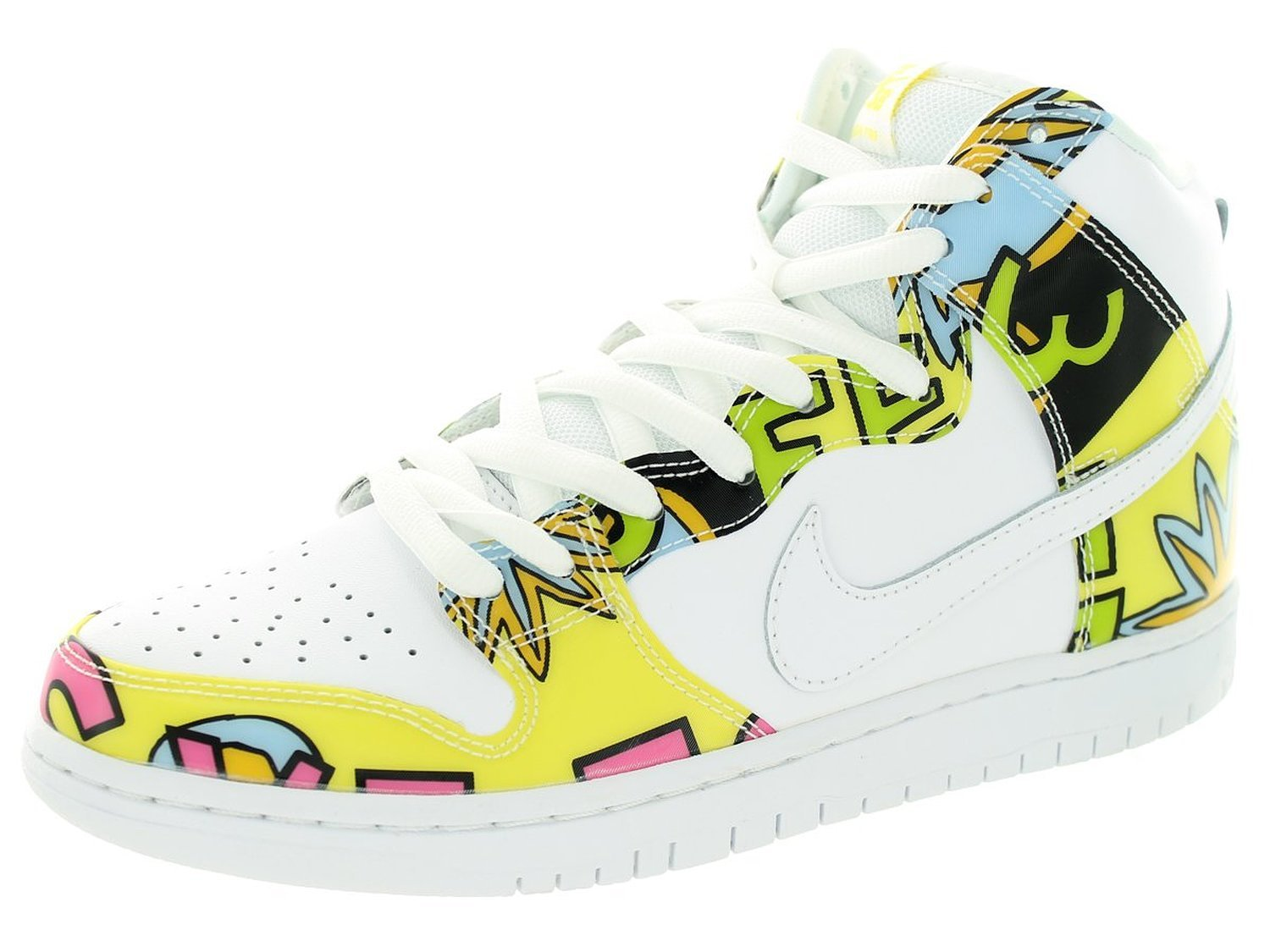 "Nike Mens Dunk High PRM DLS SB QS ""De La Soul"" White/Firefly Leather Skateboarding"