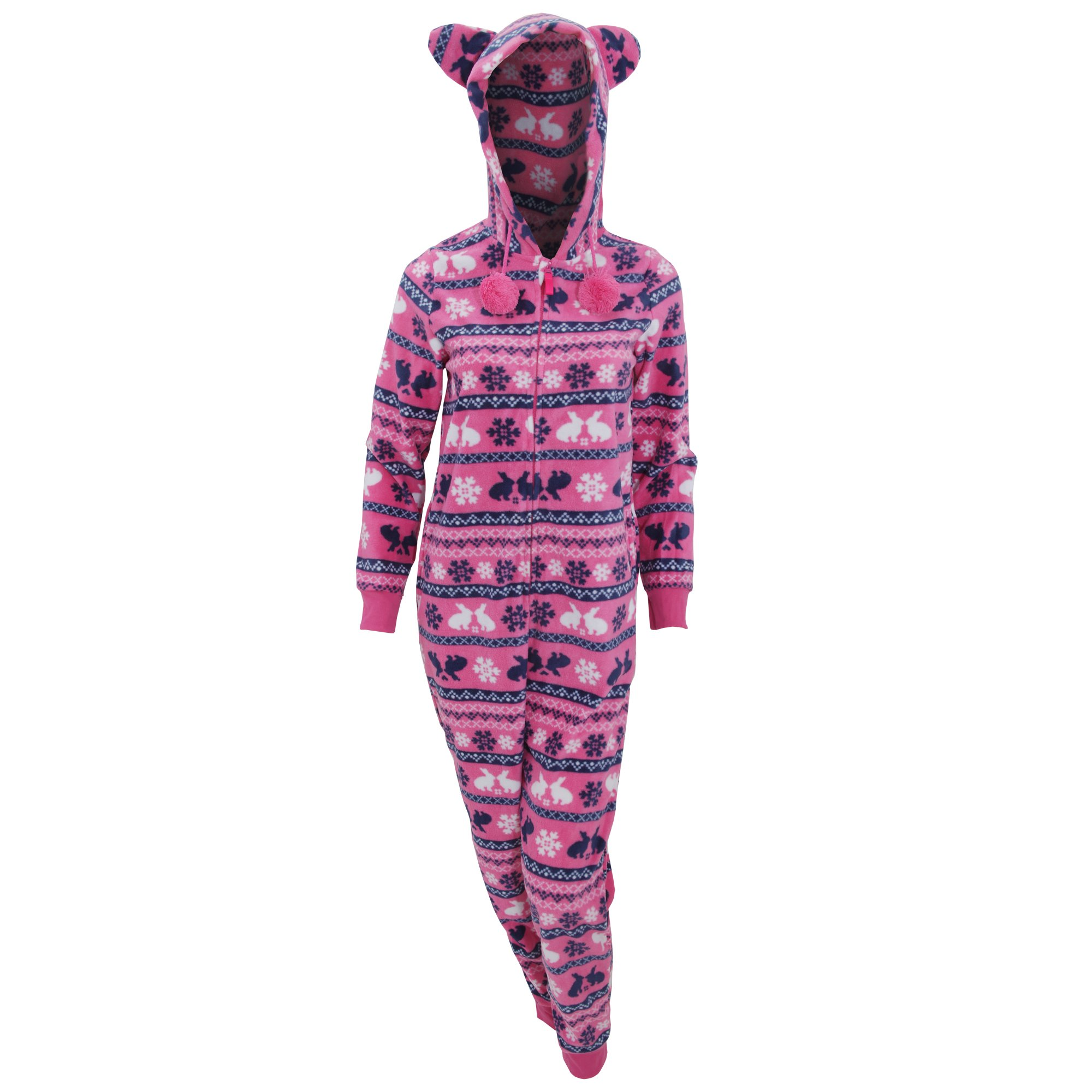 Womens/Ladies Hooded Fairisle Rabbit/Snowflake Pattern Microfleece Onesie