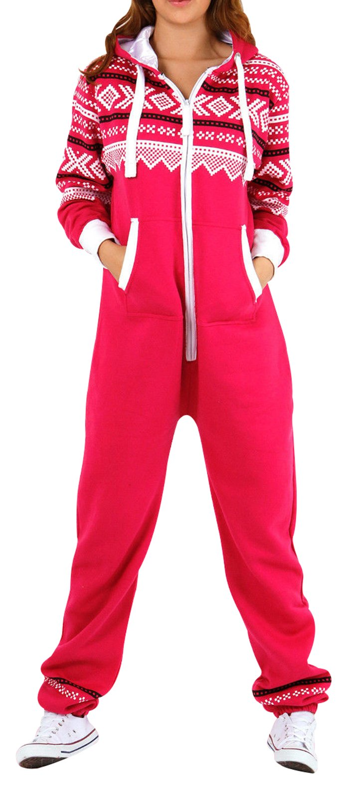 Pink Women's Onesie Fashion Printed Playsuit Ladies Jumpsuit