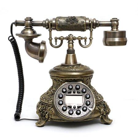 Bronze Retro Vintage Antique Style Push Button Dial Desk Telephone