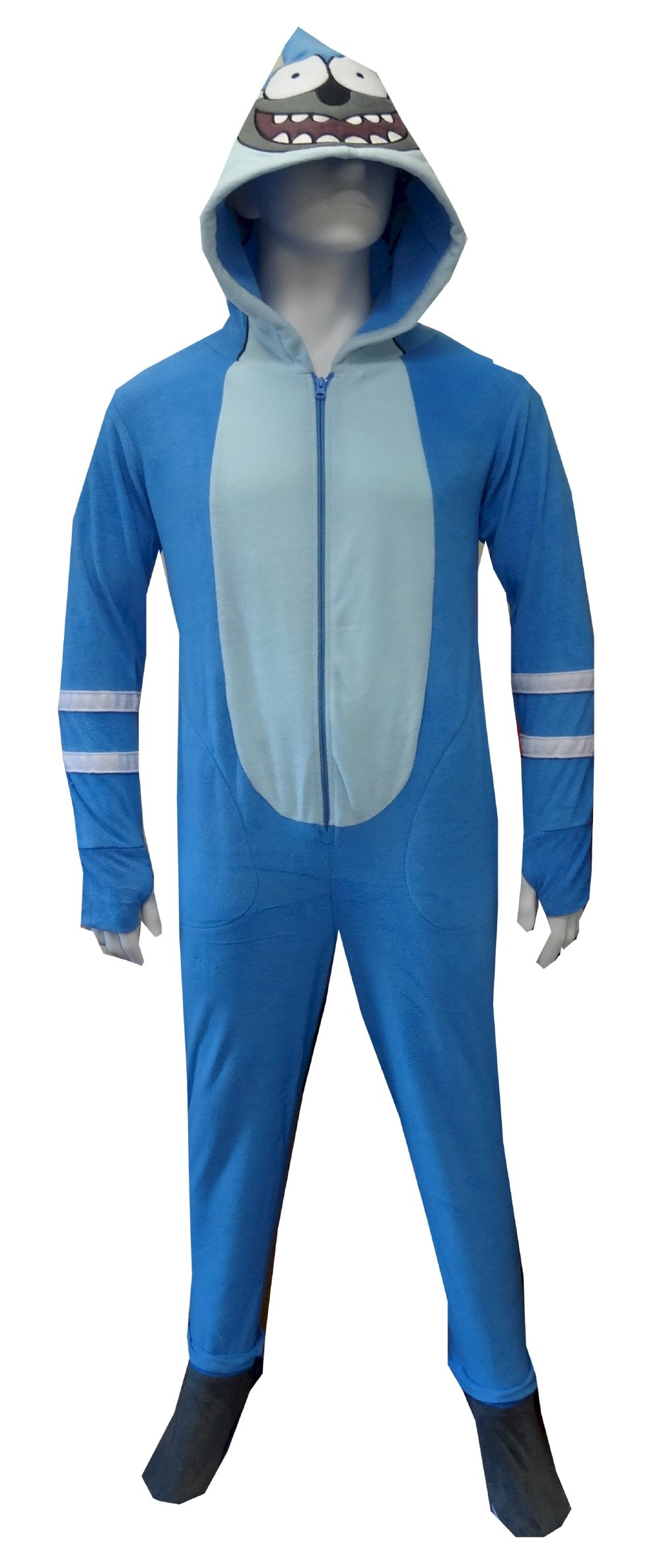 Regular Show Mordecai Unisex Adult's Hooded Onesie Footed Pajama