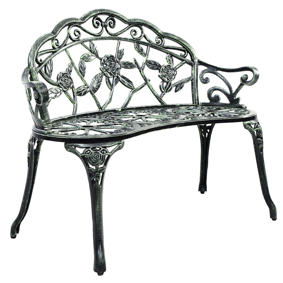 Giantex Patio Garden Bench Chair Style Porch Cast Aluminum