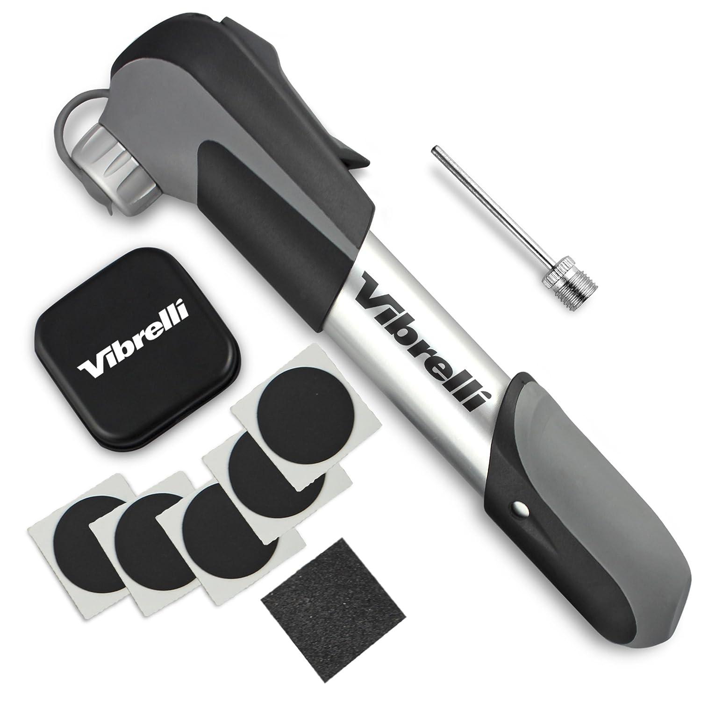 Mini Bike Pump & Glueless Puncture Repair Kit - Fits Presta & Schrader - 120 PSI - No Valve Changing Needed