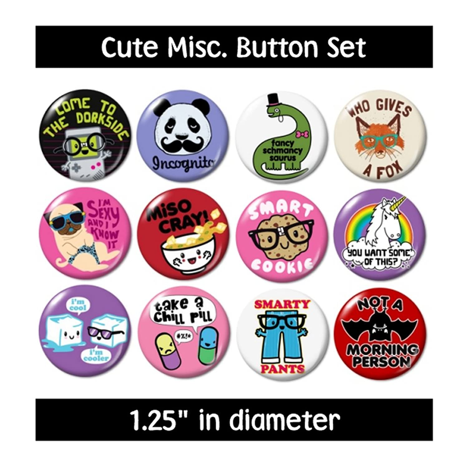 Amazon.com: CUTE MISC. BUTTONS pins badges dork smarty pants new: Clothing