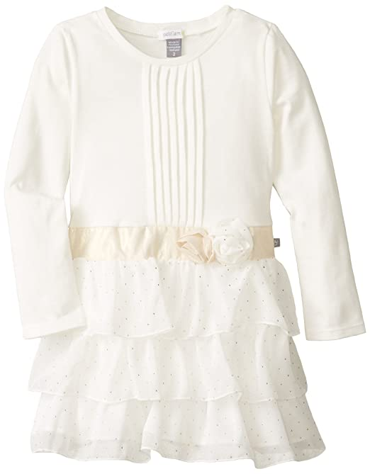 Petit Lem Little Girls' White Winter Long Sleeve Knit Woven Dress, Cream/Gold, 4