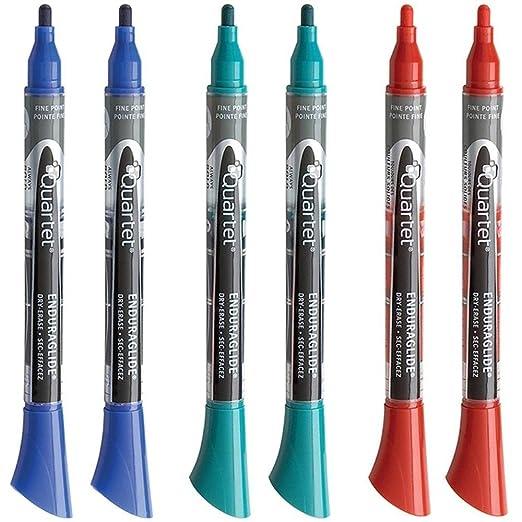 Quartet Dry Erase Markers, EnduraGlide, Fine Tip, BOLD COLOR, Assorted Primary Colors, 12 Pack (5001-10SECR)