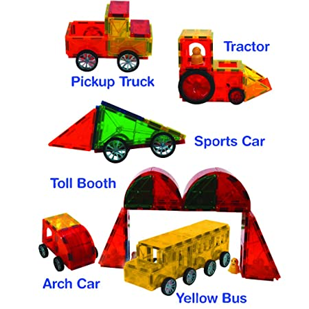 Award Winning Magnetic Stick N Stack 111 Piece Deluxe vehicle set including a large bridge piece, Toll booths, Figures, 5 car basses and much more.