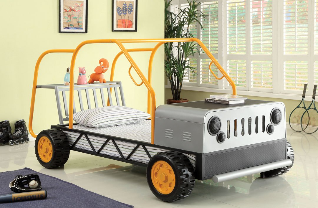 Rover twin size off road rover design bed with tubular orange and silver frame and large plastic tires with front hood table