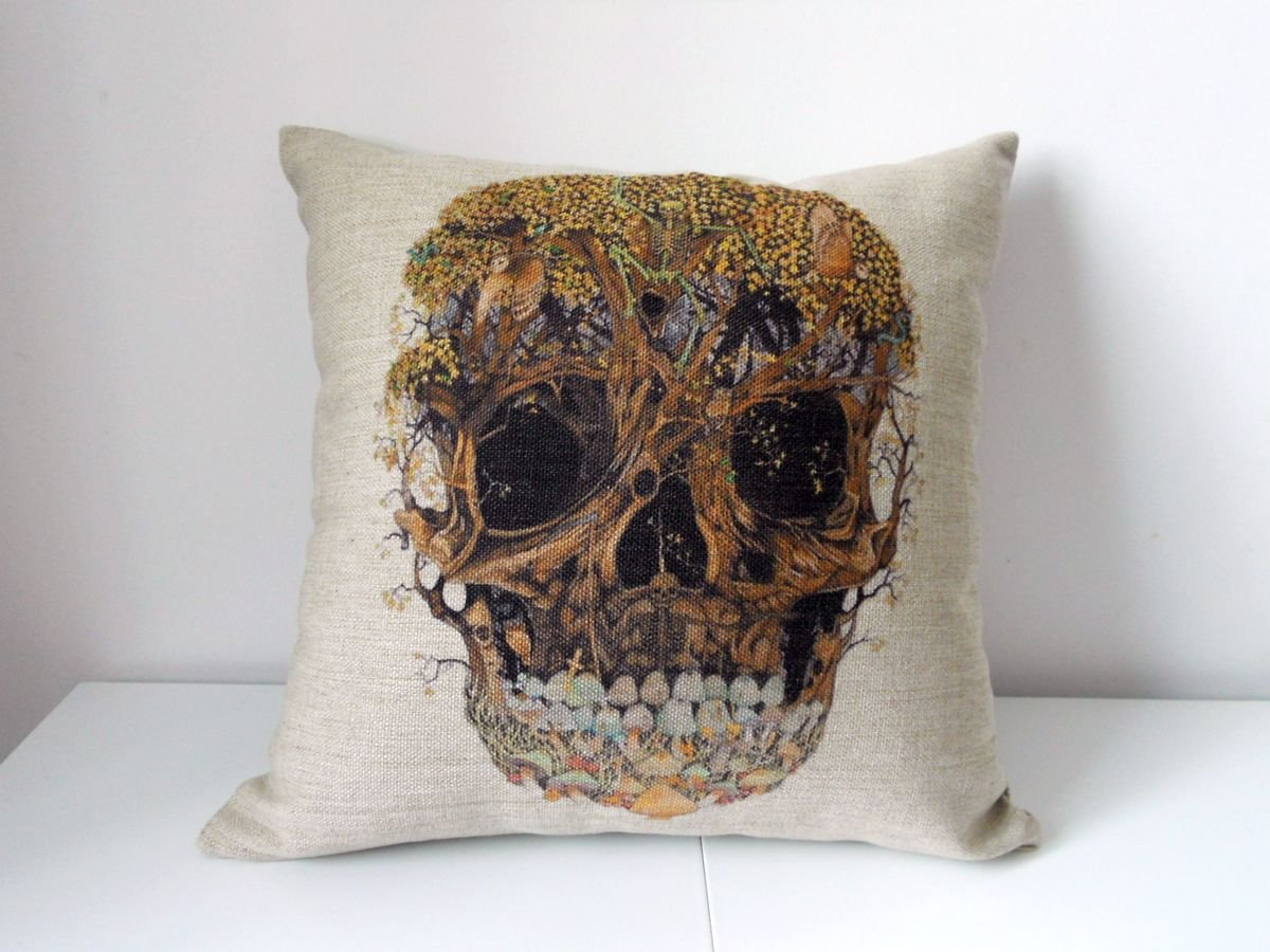 funky cool unique modern colorful throw pillows  skarro  be fun  - decorbox cotton linen decorative square throw pillow case cushion cover socool skull  x