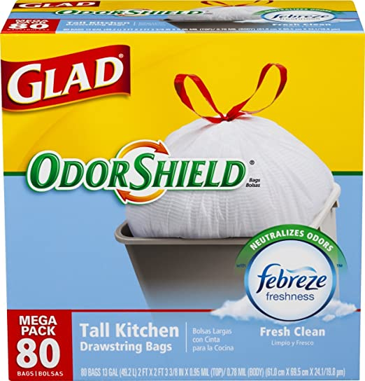 Glad OdorShield Tall Kitchen Drawstring Trash Bags, Fresh Clean, 13 Gallon, 80 Count