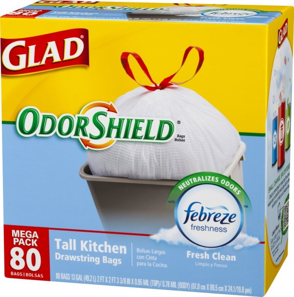 Glad OdorShield Tall Kitchen Drawstring Trash Bags Fresh