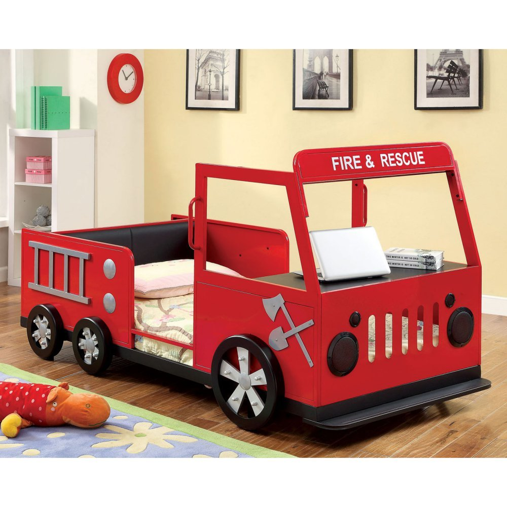 Furniture of America Rescue City Freddy Twin Fire Truck Bed -, Red, Faux Leather, Twin