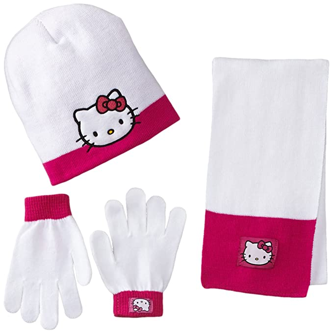 Berkshire Girl's 3-Piece Hello Kitty Beanie Glove and Scarf Set, Multi, One Size