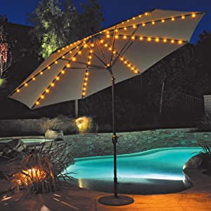 Galtech 11-ft. Auto Tilt Patio Umbrella with LED Umbrella Lights