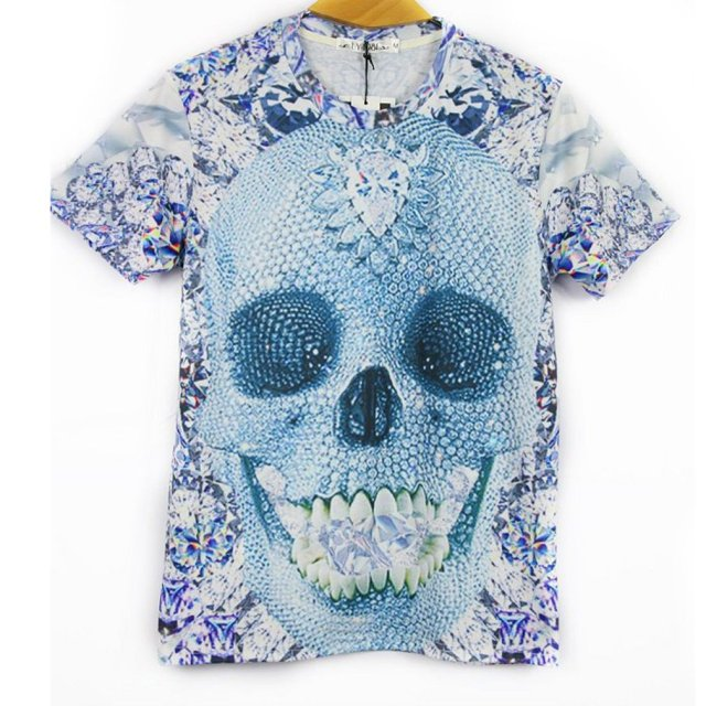 Fashion skull 3D Print men t shirt short sleeve round neck slim casual tees