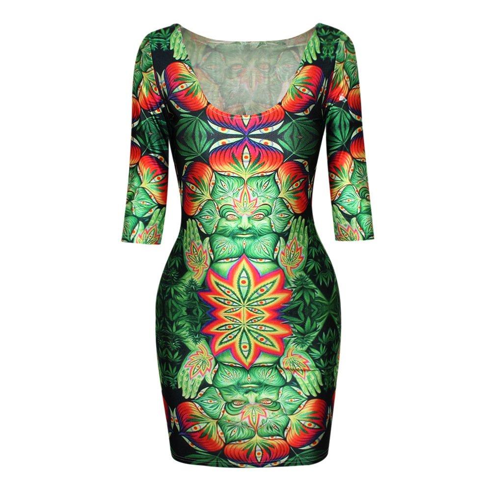 Buddha Green Weed Half-Sleeve One-Piece Dress