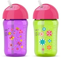 Philips Avent My Twist N Sip Straw Cup, 12 Ounce, Pink/Purple/Green, Stage 3