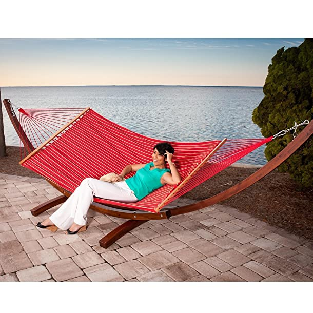 Prime Garden Sunbrella Fabric Hammock,14 Feet Wood Arc Hammock Stand,Backyard Setting,Elegant Red Stripe