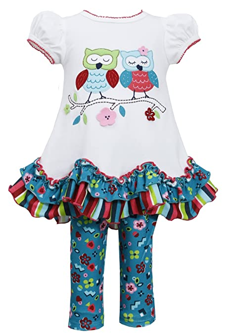 Bonnie Jean Toddler Girls 2T-4T Ivory Teal OWLS in LOVE Leggings 2-pc outfit