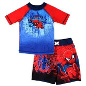DC Comics Marvel Nickelodeon Rash Guard and Trunks Swimwear Set (3T, Spider-Man Red)