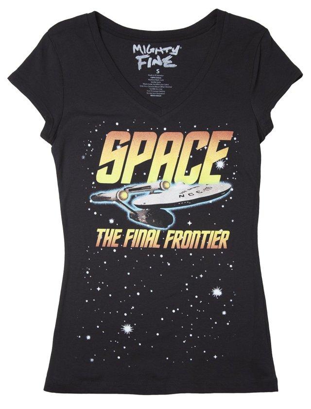Mighty Fine Women's Star Trek - Space the Final Frontier T-Shirt