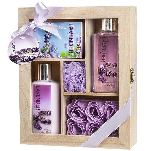 Lavender Spa Bath Gift Set in Natural Wood Curio