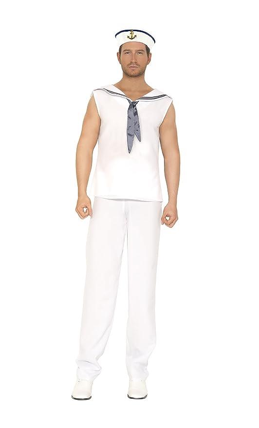 Music Legs Men's Navy Sailor, White/Navy, Medium