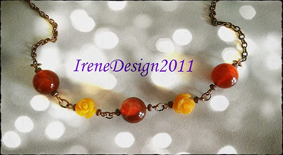 Copper Necklace with Carnelian & Yellow Resin Roses