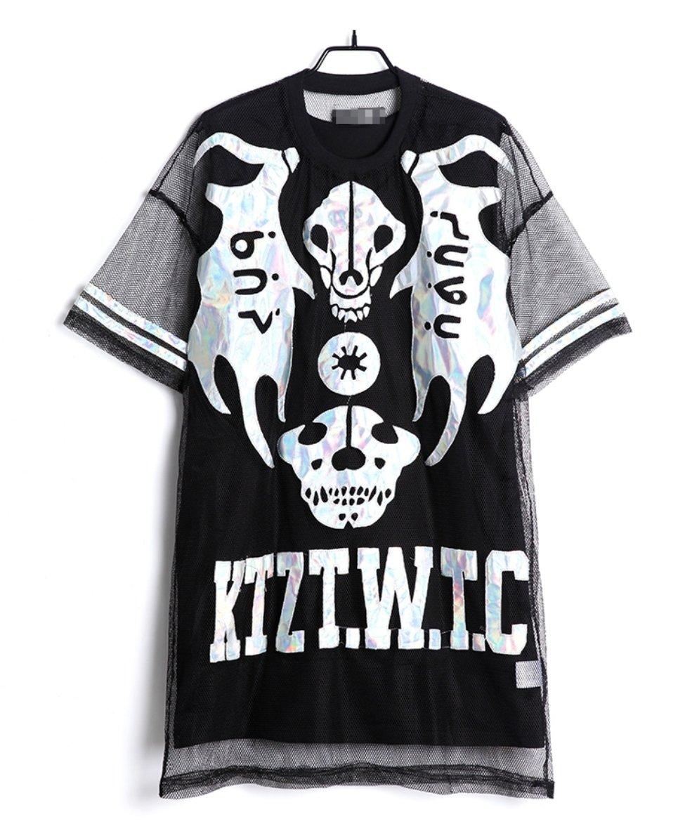 Women's Skull Laser Print Sheer Mesh Overlay Black T-shirt