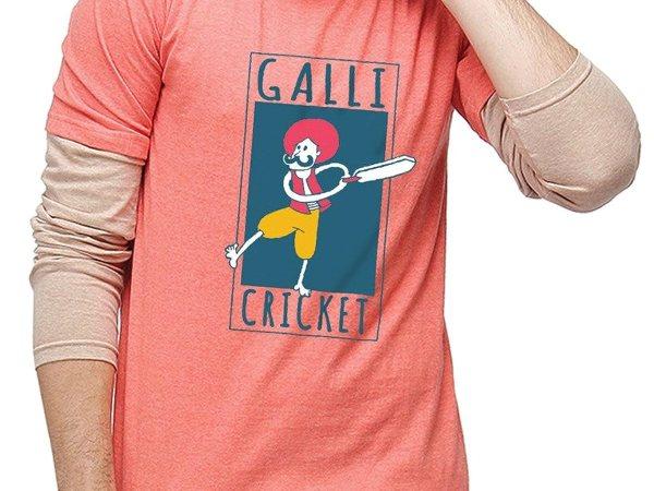 Campus Sutra Men Printed Full Sleeves Sheldon T-Shirts Galli Cricket