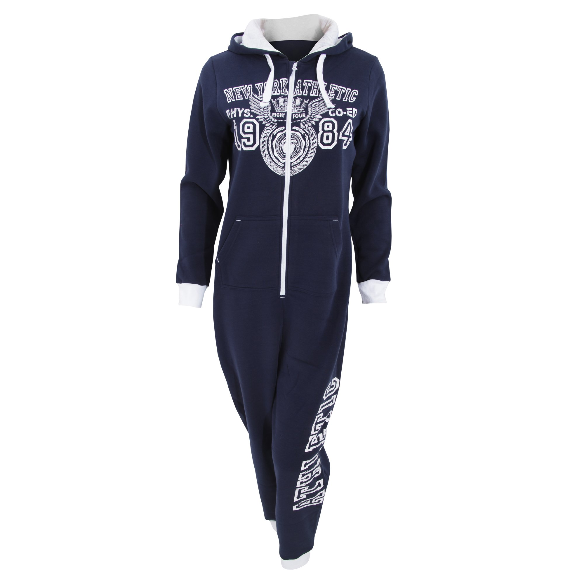 Womens/Ladies New York Athletic 1984 Retro Hooded Full Zip Onesie