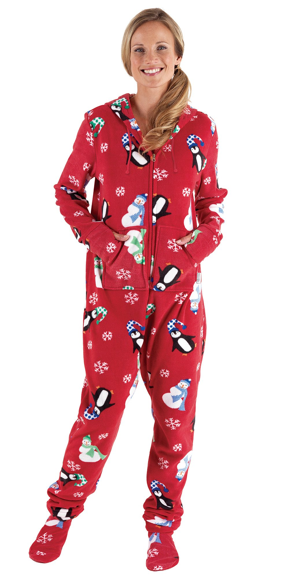 Holiday Winter Penguin Fleece Hooded Onsie Footed Pajamas for Women