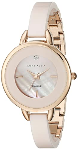 Anne Klein Women's AK/2132RGLP Diamond-Accented Light Pink Ceramic Bangle Watch