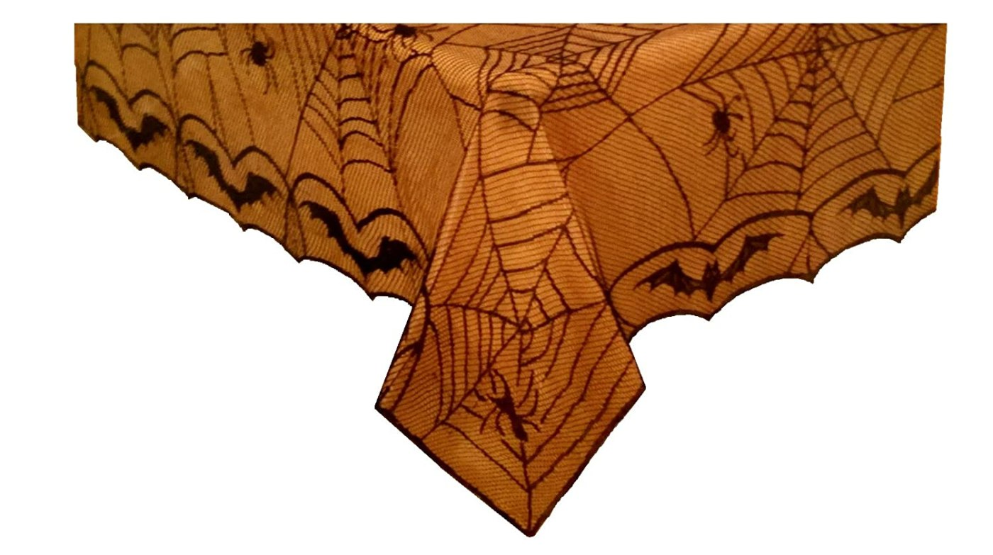 Halloween Spiderweb Tablecloth and Liner Set - Bats Webs and Spiders - Black Lace Cover with Orange Liner Included 60in x 102in