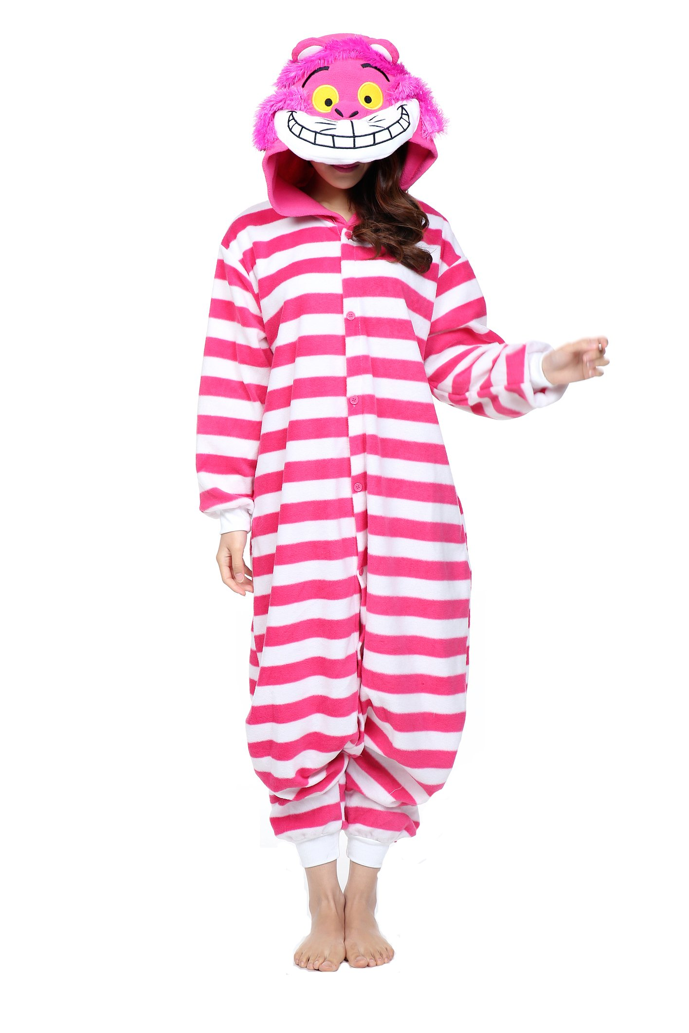Women's Pink Cheshire Cat Anime Onesies Pajamas Kigurimi small large 3x 2x