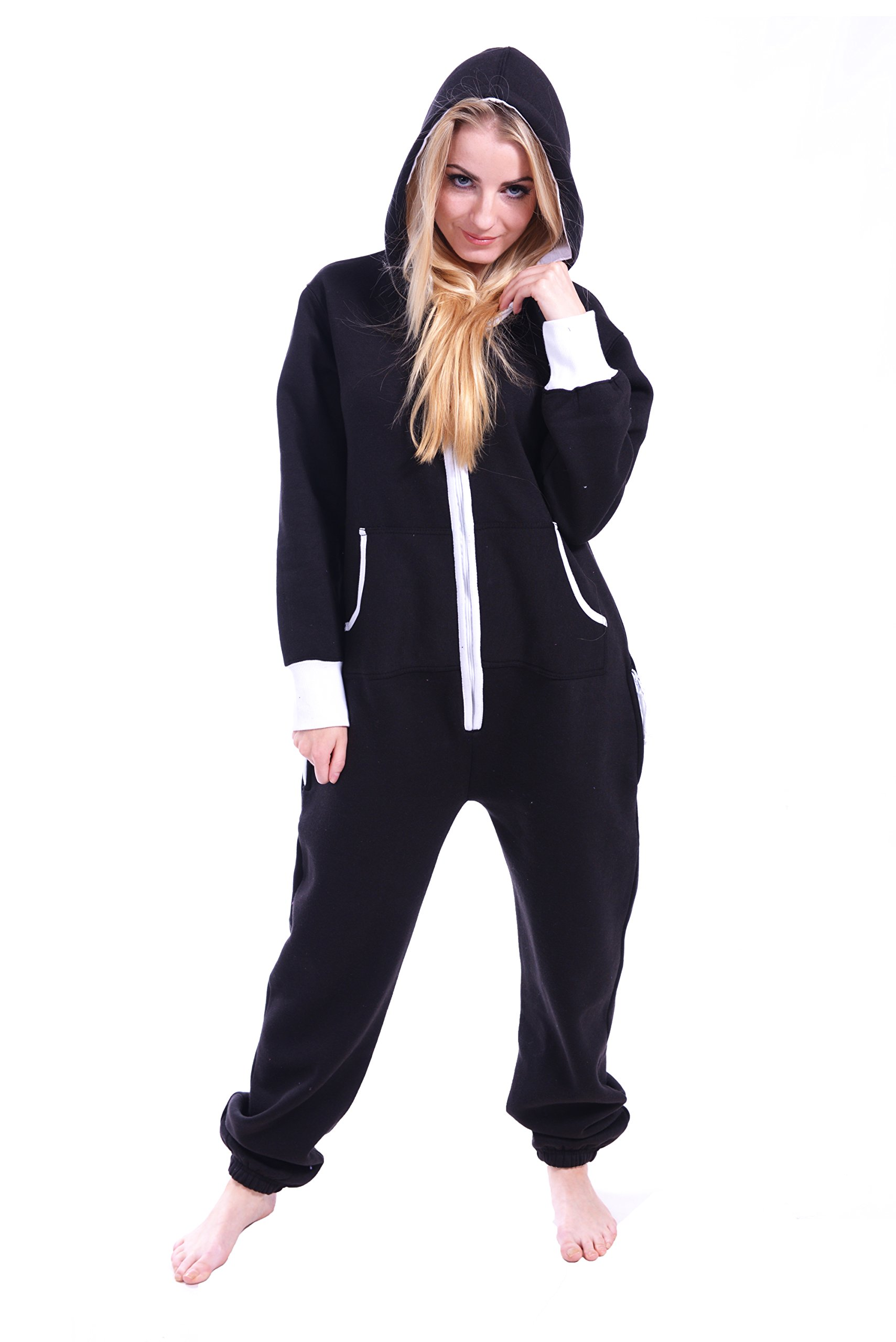 Newfacelook Women Ladies Plain Onesie Hoody All In One Zip One Piece Hoodie Jumpsuit